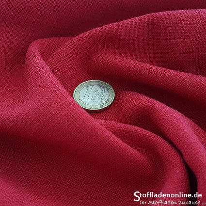 Stretch linen fabric red