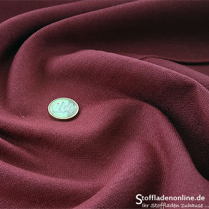 Stretch linen fabric burgundy red