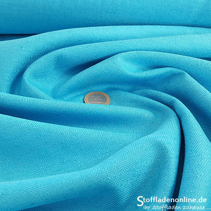 Stretch linen fabric aqua blue