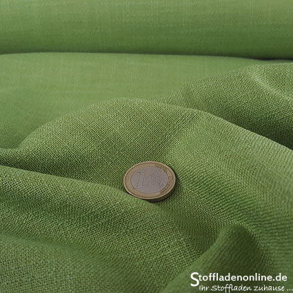 Stretch linen fabric lime green