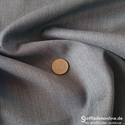 Wool blend gabardine fabric middle grey melange