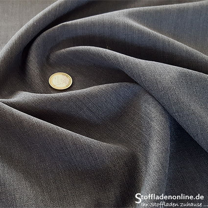 Wool blend gabardine fabric dark grey melange