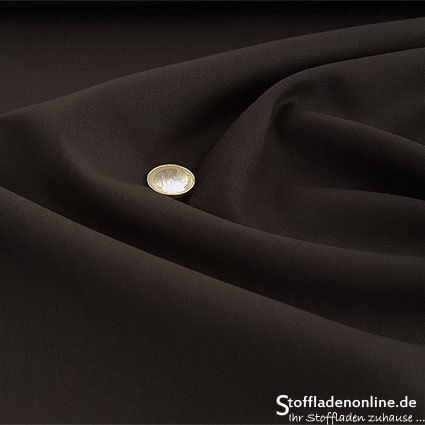 Wool blend gabardine fabric dark brown