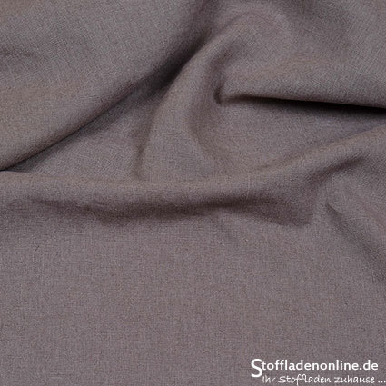 Bio enzyme washed linen fabric taupe - Hilco
