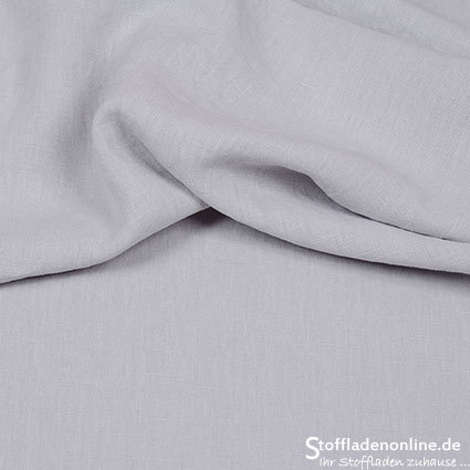 Bio enzyme washed linen fabric light grey - Hilco