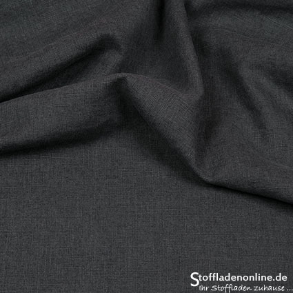 Bio enzyme washed linen fabric dark grey - Hilco