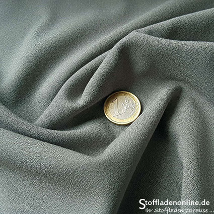 Stretch crepe fabric olive grey - Toptex