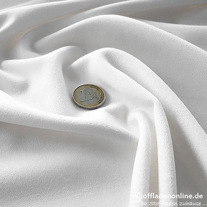 Stretch crepe fabric white - Toptex