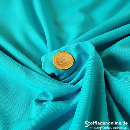 Cotton jersey fabric turquoise - Toptex