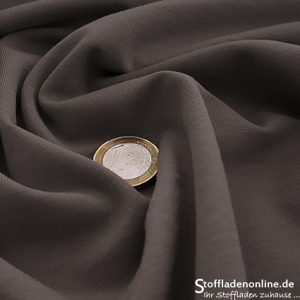 Cotton jersey fabric grey brown - Toptex