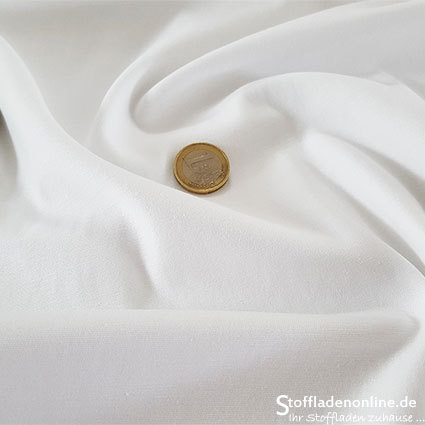 Fine woven stretch cotton twill white