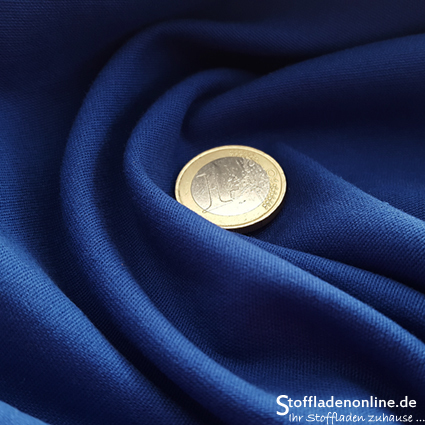 Fine woven stretch cotton twill cobalt blue