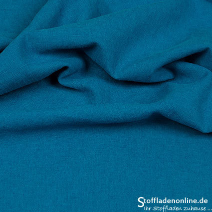 Bio enzyme washed linen dark aqua blue - Hilco