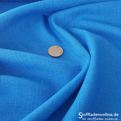 Woven viscose linen fabric ocean blue