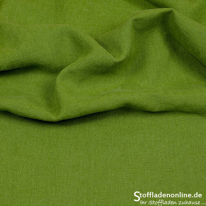 Bio enzyme washed linen fabric middle green - Hilco