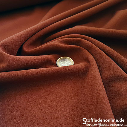 Stretch crepe fabric rust brown - Toptex