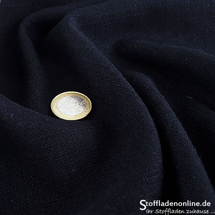 Woven viscose linen fabric dark blue