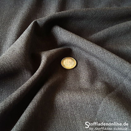 Stretch gabardine blend fabric dark grey melange