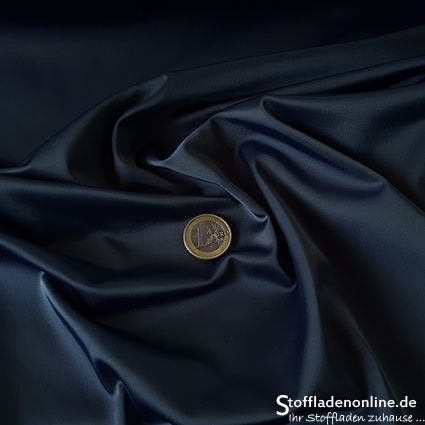 Stretch satin fabric dark jeans blue - Toptex