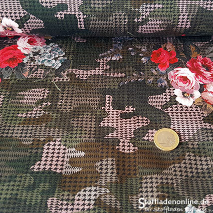 "Stretch cotton fabric ""Camouflage Rose"" - Hilco"