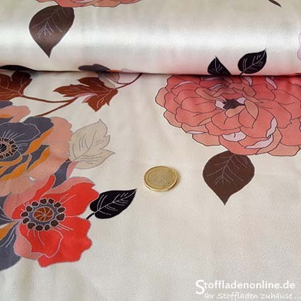 "Woven rayon satin fabric ""Bianca Florale"" - Hilco"
