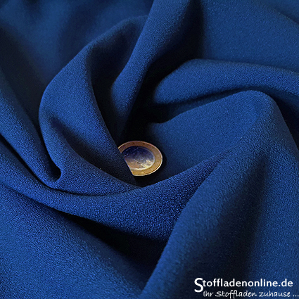 Stretch crepe fabric cobalt blue - Toptex