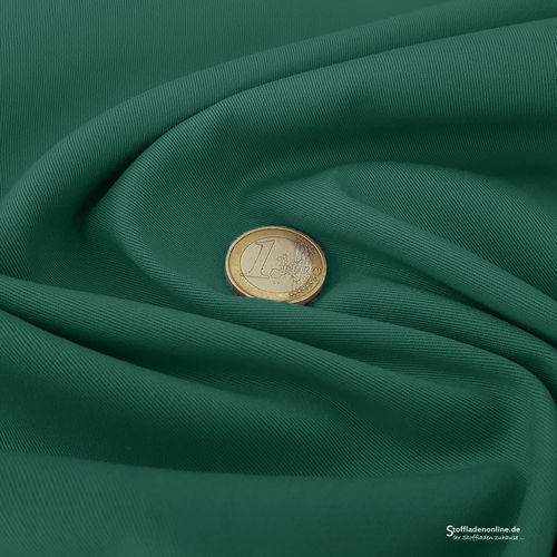 Remnant piece 94cm | Woven stretch cotton twill emerald green