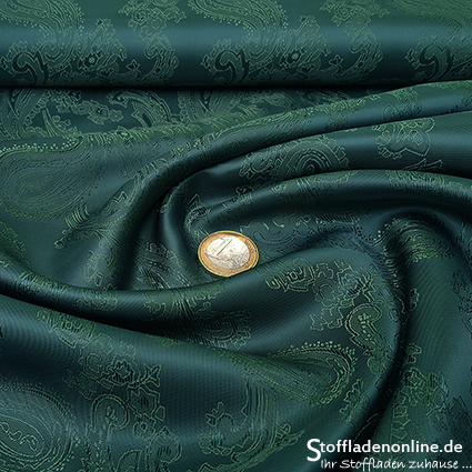 Taffeta jacquard lining | paisley forest green - forest green