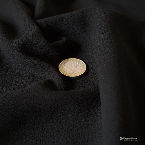 Remnant piece 168cm | Stretch crepe fabric black - Toptex